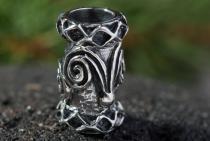 Celtic Haar- & Bartschmuck ~ DWALIN ~ 1.4 cm - Keltische Haarperle - Vintage Silber - Windalf.de