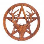Pagan Wandbild Amulett ~ CERNUNNOS ~ Ø 25 cm - Schutz- & Kraft Symbol - Hirsch & Pentagramm - Holz - Windalf.de