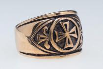 Mittelalter Ring ~ ISIAS ~ 13 mm - Siegelring der Tempelritter - Bronze - Windalf.de