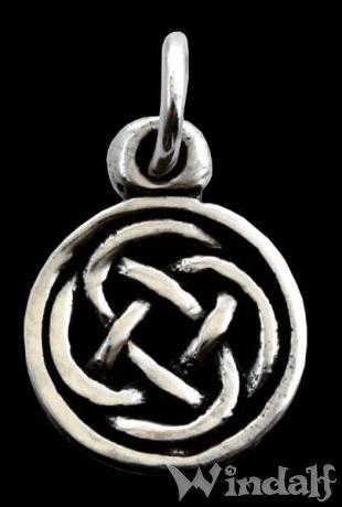 WINDALF Kleiner Celtic Schmuck Anhänger ISIRA Ø 0.9 cm Keltischer Knoten Silber