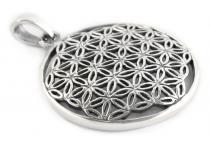 Glücks Schmuck Anhänger ~ FLORY ~ Ø 2.6 cm - Boho Amulett - Die Blume des Lebens - Silber - Windalf.de