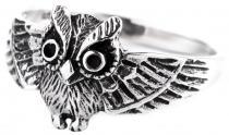 Zarter Damen Ring ~ NOCTIA ~ 10 mm - Kleine Glücks Eule - Vintage Eulen-Ring - Silber - Windalf.de