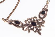 Mittelalterliches Collier ~ ALADRIA ~ h: 4.5 cm - Gothik-Schmuck - Trachtenschmuck mit Onyx - Bronze - Windalf.de