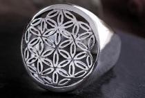 Celtic Siegelring ~ BLUME DES LEBENS ~ 1.8 cm - Lebensenergie Schmuckstück - Glücksamulett - Silber - Windalf.de