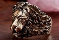 Ring ~ LUAN ~ h: 2.2 cm - Löwe - Bronze - Windalf.de