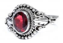 Ring ~ ASAHA ~ Elbenblatt - Echter Granat - Silber - Windalf.de