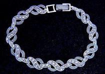 Gothik Armkette ~ NUANA ~ 19.5 cm - Mittelalter Markasit Steine - Silber - Windalf.de