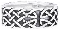 Breiter Keltenring ~ NORICA ~ 8 mm - Keltischer Knoten Partnerring - Antik Silber - Windalf.de