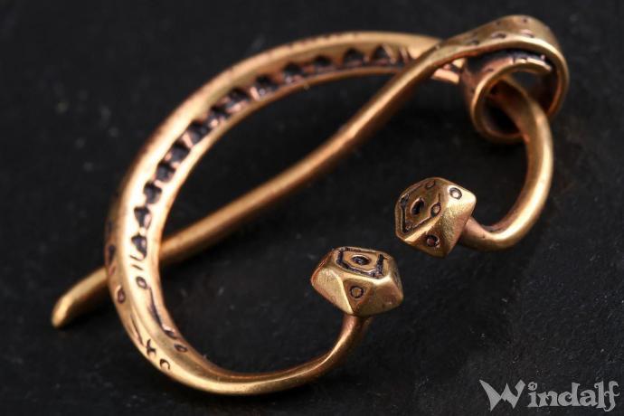 Windalf Vintage Celtic Fibel AUREJA 3.6 cm Keltische Spirals Tuchnadel Brosche Bronze