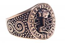 Thorshammer-Ring ~ DONAR FUTHARK ~ h: 1.8 cm - Mit Runen - Bronze - Windalf.de
