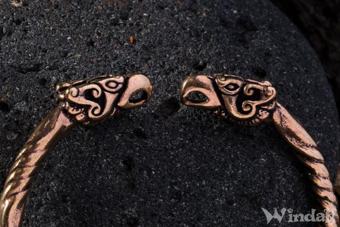 Frauen Armreif ~ HUGIN & MUNIN ~ Ø 5.7 cm - Odins Raben - Wikingerschmuck - Antik Bronze - Windalf.de