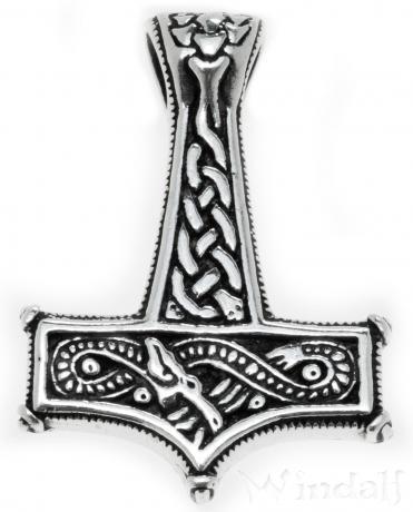 WINDALF Vikings Schmuck Anhänger THUMÌR 4.2 cm Großer Wikinger Thorshammer Silber