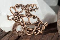 Vikings Fibel ~ MIDGA ~ 5 cm - Midgardschlange Brosche - Bronze - Windalf.de