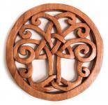 Wanddeko - Holzbild ~ VARUNA ~ Ø 22 cm - Keltischer Lebensbaum - Handarbeit aus Holz - Windalf.de