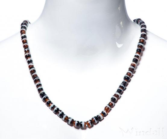 Altertümliche Perlenkette ~ CLARY ~ l: 70 cm - schwarz weiß gold - Wikinger - Windalf.de