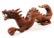 Drachenfigur ~ SORIA ~ Drache mit Zauberkugel - 80 cm - Holz - Windalf.de