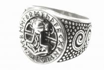 Vikings Siegel-Ring ~ DONAR FUTHARK ~ 1.8 cm - Runen & Thorshammer Statementring - Silber - Windalf.de