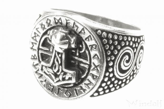 Ring ~ DONAR FUTHARK ~ h: 1.7 cm - Runen & Thorshammer - Antik Silber - Windalf.de