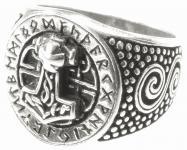 Vikings Siegel-Ring ~ DONAR FUTHARK ~ 1.8 cm - Runen & Thorshammer Statementring - Silber - Windalf.de