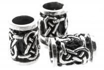 Haarperle & Bartschmuck ~ ADAZ ~ h: 1.2 cm - Keltische Knoten - Antik Silber - Windalf.de
