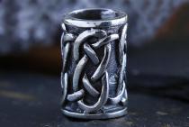 Haarperle & Bartschmuck ~ ADAZ ~ h: 1.2 cm - Keltische Knoten - Vintage Silber - Windalf.de