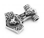 Wikinger Schmuck-Anhänger ~ THORON ~ h: 3 cm - Thorshammer mit Odins Kopf - Silber - Windalf.de