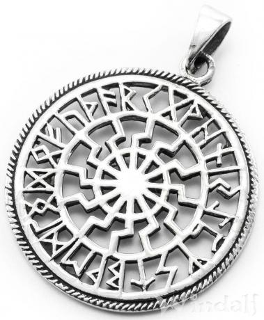 WINDALF Schmuck Anhänger Schwarze Sonne Ø 2.8 cm Amulett mit Runen Silber