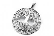 Celtic Schmuck Anhänger ~ BARUNA ~ Ø 3 cm - Baum des Lebens mit Runen - Kraft Amulett - Silber - Windalf.de