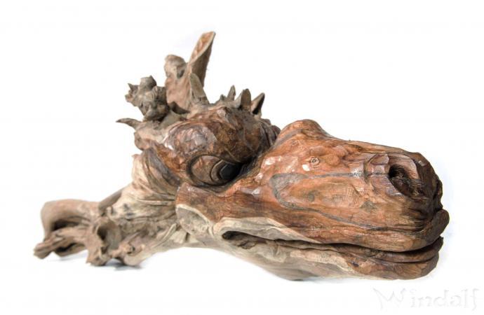 Drachen Figur ~ FAFNIR ~ Garten Holz Skulptur - Teak