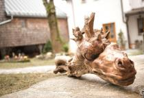 Drachen Figur ~ FAFNIR ~ Garten Holz Skulptur - Teak -Unikat - Windalf.de