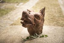 Wikinger Fenriswolf ~ FENRUS ~ h: 43 cm - Wolfs-Kopf Figur - Unikat aus wurzelholz - Windalf.de
