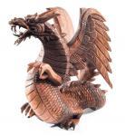 Holzfigur Drache ~ BRAINN ~ 30 cm - Stehend mit Flügeln - aus Holz - Windalf.de