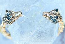 Frauen Armreif ~ JANA ~  Ø 5.6 cm - Odins Wölfe - Wikinger-Armreif - Handgeschmiedet aus Bronze - Windalf.de