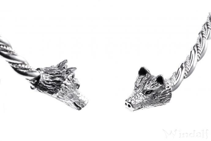 Frauen Torques ~ WULF ~ Ø 12 cm - Wikinger Halsreif mit Wolf -  Handarbeit aus Silber - Windalf.de