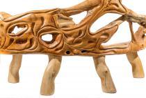 Rustikale Holz Sitzbank ~ ANNA ~ l: 217 cm - Große Gartenbank - Handarbeit aus Wurzelholz - Windalf.de