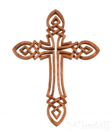 Keltisches Kreuz ~ KELTOI ~ h: 35 cm - Wand Deko Bild - Handarbeit aus Holz - Windalf.de