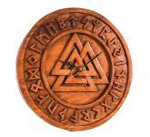 Asatru Wotans Knoten Uhr ~ ODINS UHR ~ Ø 30 cm - Wikinger Valknut Runen Wand Uhr - Handarbeit aus Holz - Windalf.de
