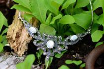 Mittelalter-Halskette ~ ALADRIA ~ l: 45 cm - Trachten-Schmuck - Perlmutt - Silber - Windalf.de