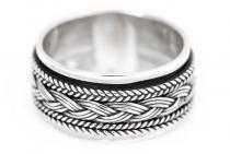 Wikinger Ring ~ WYKIN ~ h: 1 cm - Drehring mit Wikingerknoten - Handgeschmiedet - Silber - Windalf.de