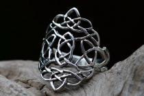 Keltischer Ring ~ RISE ~ h: 2.4 cm - Keltische Knoten - Silber - Windalf.de