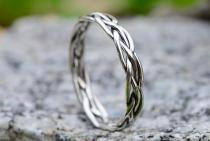 Schmaler Mittelalter-Ring ~ SKALA ~ h: 0.3 cm - Damenring mit Zopfmuster - Silber - Windalf.de