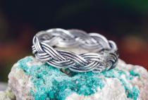 Frauen Ring ~ RIGA ~ h: 0.4 cm - Zopf-Ring - Wikinger Schmuck - Handarbeit - Antik Silber - Windalf.de