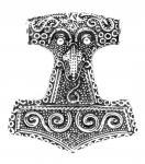 Großer Asatru Anhänger ~ THYR ~ 4 cm - Vikings Thorshammer Schonenhammer - Vintage Silber - Windalf.de