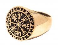Vegvisir Ring ~ RAGSØN ~ h: 1.8 cm - Wikinger Runen Kompass - Bronze - Windalf.de