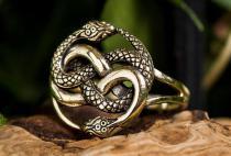 Fantasy Ring ~ AURIN ~ 18 mm - Glücksamulett Schlangenring - Hochwertige Bronze - Windalf.de