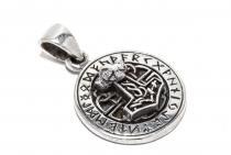 Wikinger Anhänger ~ RUTHAR ~ Ø 1.8 cm - Thorshammer mit 24 Runen - Silber - Windalf.de