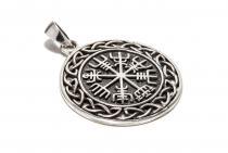 Vegvesir Symbol Anhänger ~ WINRAR ~ Wikinger Kompass mit Knoten - Silber - Windalf.de
