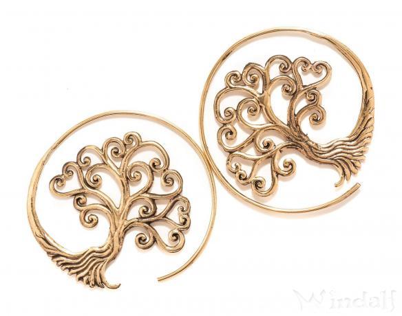 Vintage Ohrhänger ~ SCARLETT ~ Ø 4.4 cm - Celtic Baum des Lebens - Bronze - Windalf.de