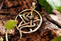 Pagan Schmuck Anhänger ~ PEGA ~ Ø 2.6 cm - Schutz Amulett - Pentagramm mit Schlange - Bronze - Windalf.de