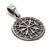 Wikinger Anhänger ~ VEGVESIR ~ Wikinger Kompass mit Zopfmuster - Asatru - Antik Silber - Windalf.de